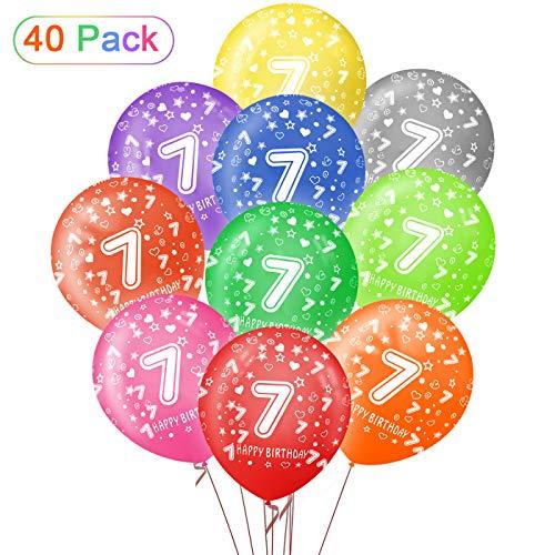 Sunshine smile 7.lgeburtstag Junge,40 kunterbunte Luftballons Metallic,Kunterbunte Luftballons,Happy Birthday Dekoration Zahl,Nummerndekoration,Party Kindergeburtstag Happy Birthday Dekoration