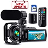 【Full Upgrade】Ultra HD Video Camera Camcorder with Rechargeable Microphone...