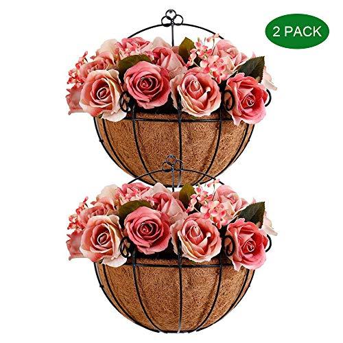 ZMHS Paquet de 2 paniers Suspendus en métal avec Support de Plante en Fil de Coco en Fibre de Coco avec Crochets décoratifs Pots de Fleurs pour Jardin extérieur intérieur Porche et Balcon