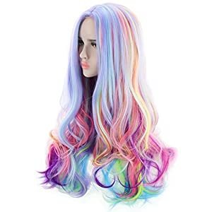 AGPtEK Full Long Curly Wavy Rainbow Hair Wig, Heat Resistant Wig for Music Festival, Theme Parties, Wedding, Concerts…