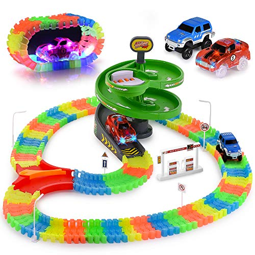 Glow Race Tracks Set – Compatible with Magic Tracks Too – 144 Pieces with 2 Toy Cars (1 Light Up), Flexible and Bendable DIY Fun Glow In The Dark Racing Toy – Interactive STEM Toy – for Girls and Boys