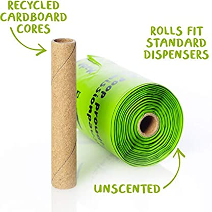 Compostable Dog Poop Bags, Plant-Based Poop Bag for Dogs. 60 Unscented Thick Leak Proof Pet Waste Bags 11x13. 4 x Refill Rolls Fit Standard Dispensers. Highest Rated ASTM D6400 Supports Doggie Rescue 6
