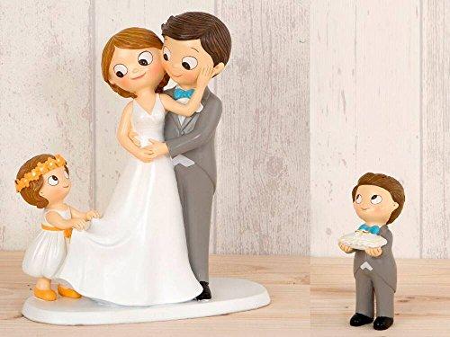 Momparler1870 Tortenfigur Brautpaar mit Mädchen in Brautschwanz und Junge mit Kissen