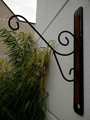 Zen Man Rost Laternenhaken Wandhalterung Garten Rost Wandhaken Lampenhaken Blumenampel Aufhänger L35cm