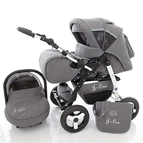 Kinderwagen 2in1 3in1 Set Isofix Buggy Kombikinderwagen Jag-Cat by SaintBaby Grau ohne Autositz