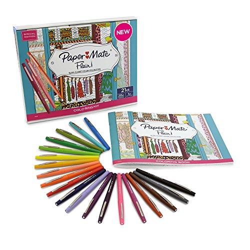 Paper Mate 1994852 Flair Lot de 20 Stylos-feutres pointe moyenne avec livre de coloriage Couleurs Assorties