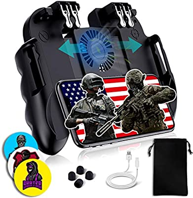 4 Trigger Mobile Game Controller with Cooling Fan Adjustable Stand for PUBG/Call of Duty/Fotnite [6 Finger Mode] GAMR+ L1R1 L2R2 Gaming Grip Gamepad from GAMR+