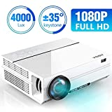 Projector, ABOX A6 Portable Home Theater 1080p Video Projector, Up to 200' Image Display, Built-in HiFi Sound, 50,000 Hour Lamp Life, Supports HDMI, USB, SD Card, VGA, AV