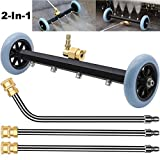 ZALALOVA Pressure Washer Undercarriage Cleaner, 16 Inch Power Washer Surface Cleaner Attachments, Under Car Wash Water Broom w/ 2 Pcs Extension Wand 1 Pc 60° Angled Wand, 4000 PSI