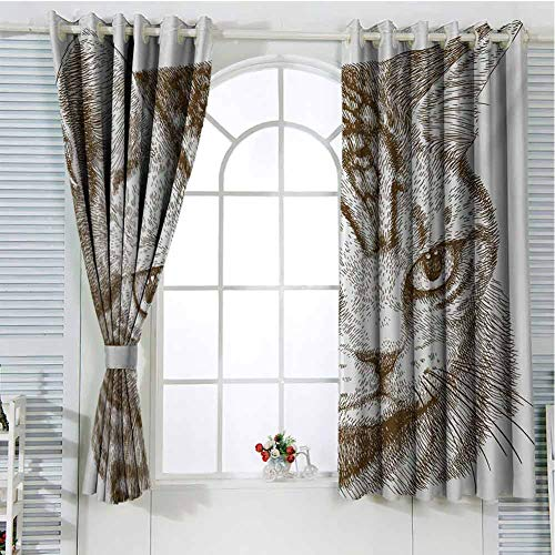 Cat Curtains for Sliding Glass Door Portrait of a Kitty Domestic Animal Hipster Best Company Fluffy Pet Graphic Art Room Decor Blackout Shades W72 x L84 Inch Green Brown White