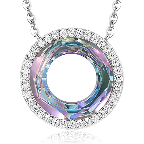 LOUISA SECRET Ferris Wheel 925 Sterling Silver Pendant Birthday Jewelry Gifts Circle Crystal Necklace for Women Mother's Day for Her Mom Wife Girls