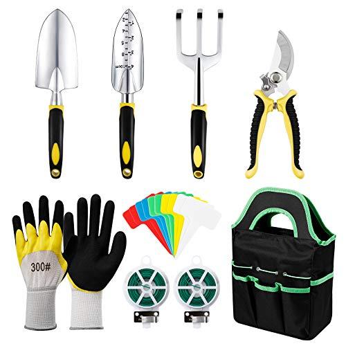MojiDecor Gartenwerkzeug Set, 18-teiliges Gartengeräte Set, Gartengeräte mit Handschaufel/Gartengabel/Blumenschere/Pflanzmaschine/Aufbewahrungstasche/Gartenhandschuhen