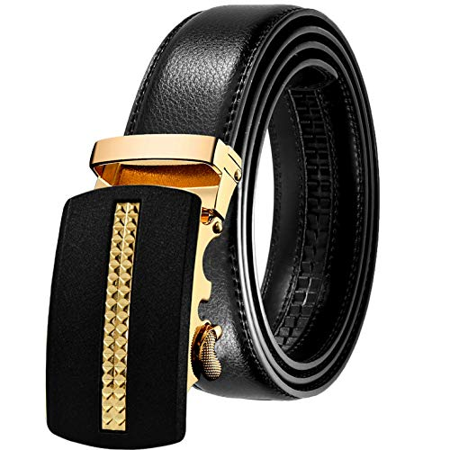 JINIU Men's Leather Belt Automatic Buckle 35mm Ratchet Dress Black Belts Boxed KT1 One Size