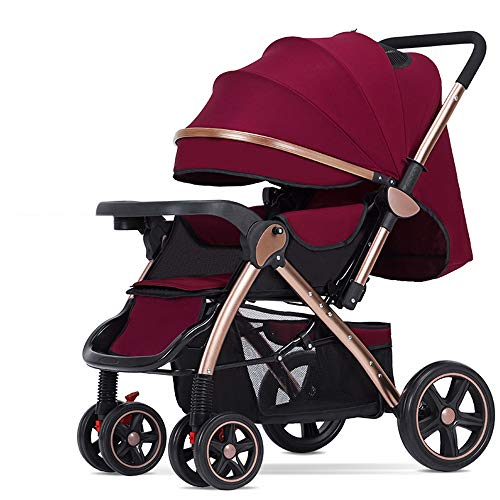 New Folding Luxury Baby Stroller Travel System with Anti-Shock Springs Newborn Baby Pushchair Adjust...
