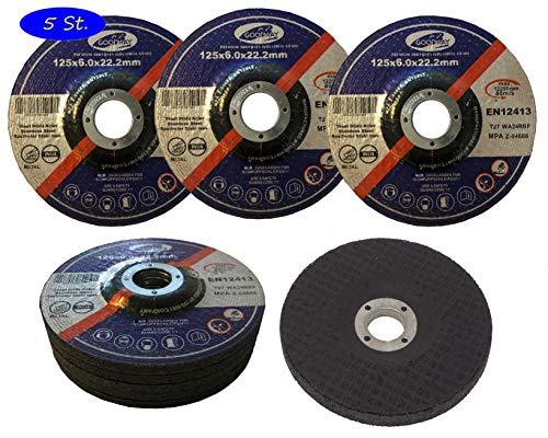 Schruppscheiben │ 5 Stück │ Ø 125 x 6 mm │ für Trenn- oder Winkelschleifer │ Schleifmopteller │Schleifscheiben │ Für Stahl & NE-Metall