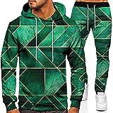 XiaoHeJD Otoño Invierno Moda suéter Traje Hombres Deportes Casuales 3D patrón de celosía imprimido Sudadera con Capucha Pantalones Conjuntos de 2 Piezas
