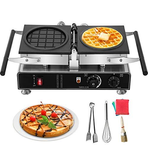 VEVOR 110V Commercial Waffle Maker 180 Degree Reversible, 1600W Electric Round Waffle Maker Nonstick Teflon Coating Plates, Adjustable Temp.122-572℉, Timer Range 0-5 min(Depth:0.43',Dia:7.08')