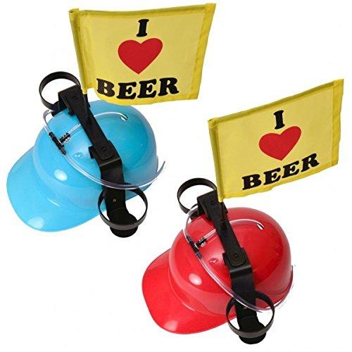 trendaffe I Love Beer Trinkhelm mit Fahne - Bierhelm Saufhelm Helm mit Getränkehalter