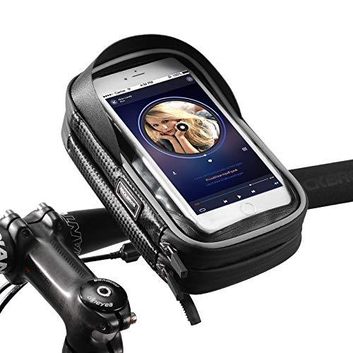 ROCKBROS Fahrradtasche Lenkertasche Handyhalterung 360 Grad Drehbar für GPS, Navi, Smartphone bis zu 6.0 Zoll Empfindlicher Touchscreen wasserdichte Handytasche