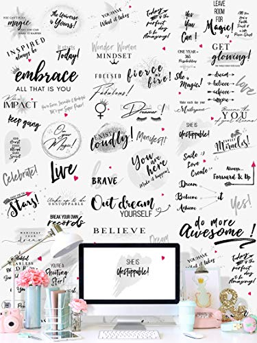 Girl Power 24/7 Motivational Peel and Stick Wallpaper for Women – Be Unstoppable Removable with Inspirational Quotes and Affirmations – Repositionable Wall Decor – Easy to Install for Home Decor