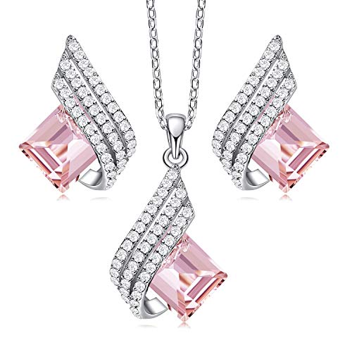 CDE Sterling Silver Necklace Set for Women with Crystals from Pink Crystal Jewelry Set Elf Pendant with CZ Diamonds Necklace and Ladies Earring Set Birthday Christmas Wedding Gift for Girl