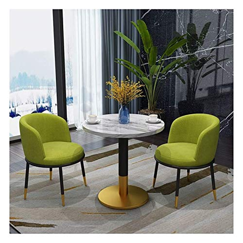 DYYD Home Living Room Tables And Chairs Kitchen 3-piece Dining Table Simple Reception Leisure Table Coffee Shop Beauty Salon Lounge Modern Design 60cm Marble Round Table Thick Metal Feet