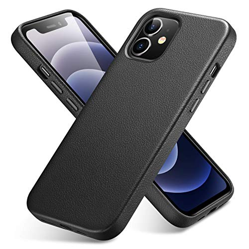 ESR Metro Series Real Leather Case Compatible with iPhone 12 Mini 5.4-Inch [Slim Leather Protective Case] [Supports Wireless Charging] [Scratch-Resistant] – Black