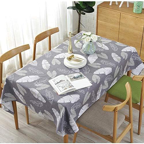 ccfgh Tischdecke Grau Blätter Tischtuch Rechteckige Tischdecken Baumwolle Leinentischabdeckung Geeignet für Wohnküchendekoration, Verschiedene Größen (Color : Grey, Size : 130+#215;180cm)