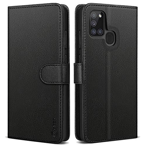 Vakoo Plånboksserie telefonfodral för Samsung Galaxy A21s smartphone – med RFID-blockering – svart