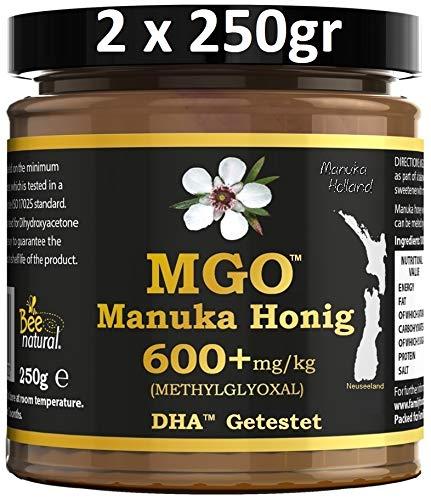 BEE NATURAL Manuka Honig MGO® 600+ 500gr (= 2 x 250gr). ECHTGLAS GLAS. Lieferung nach DE: ZUSTELLUNG INNERHALB VON 2-5 ARBEITSTAGEN. MGO 400 ≥ UMF 12, 550 ≥ 15, 600 ≥ 16, 700 ≥ 18, 800 ≥ 19, 850 ≥ 20