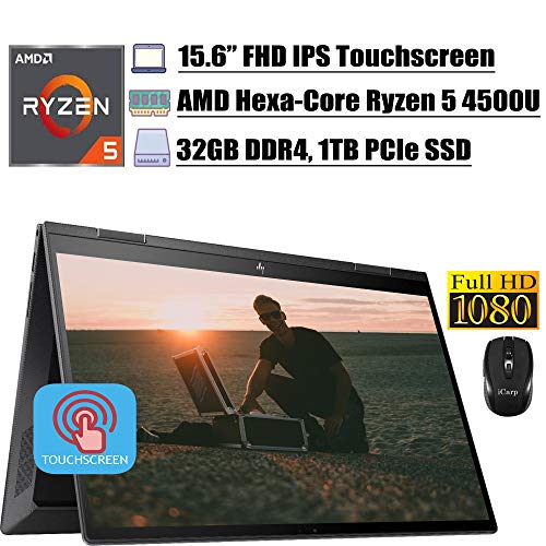 2020 Newest HP Envy X360 Business 2 in 1 Laptop, 15.6 inch FHD IPS Touchscreen, AMD Hexa-Core Ryzen...