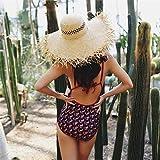 B/H Mujeres Paja Verano Sombrero de Playa Fedora para Viajes, Vacaciones,Raffia Playa Piscina Piscina de Ocio Paja Sombrero-E_M,Mujer Sombrero de Sol Suelto de Playa