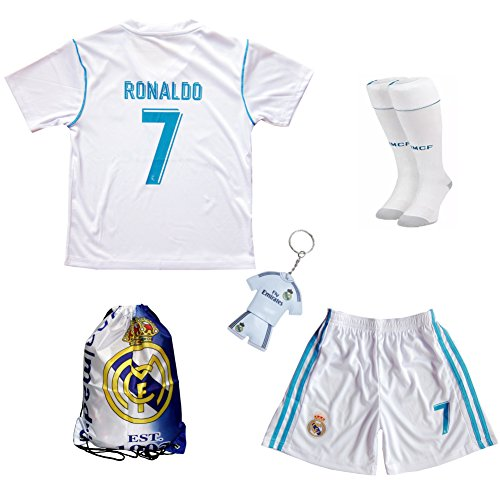 GamesDur 2018/2020 Cristiano Ronaldo #7 Home Football Soccer Kids Jersey & Short & Sock & Soccer Bag Youth Sizes