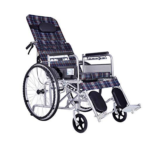 Z-SEAT Silla de Ruedas Manual con Respaldo Alto, Silla con Inodoro reclinable para Ducha, Silla de Ruedas Manual reclinable Plegable con Rueda Maciza