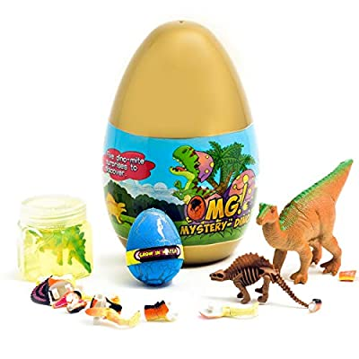 O.M.G! Jurassic Dinosaur 5 Surprise Dino Egg Both Educational and Fun Filled with Puzzles, Figures, Slime, Fossils and More! by OMG! Mystery