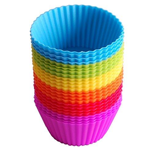 Pirottini per cupcake, confezione da 24, riutilizzabili, in silicone, per la cottura di muffin, cupcake, gelati, budini, multicolore