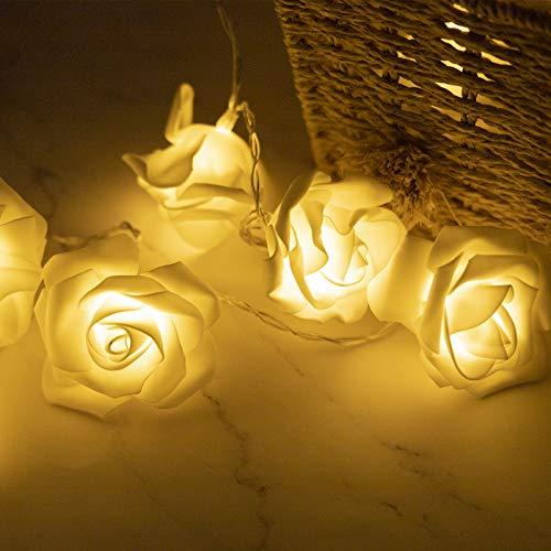 Seamuing Cadena de Luz LED Guirnalda Luces Flor Rosa Lámpara 14ft 30 LED Rosas Luces de Hadas Con Pilas Blanco Cálido Decoración de Flores Románticas para Fiesta Decoración Navidad San Valentín Bodas