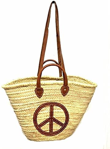 Straw Leather Shopping French Market Basket Bag Moroccan Tote Peace product image