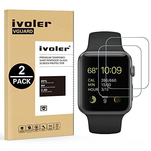ivoler [2 Pack] Pellicola Vetro Temperato per Apple Watch 38mm Series 3 / Series 2 / Series 1 [Garanzia a Vita], Pellicola Protettiva Protezione per Schermo per Apple Watch 38mm Series 3/2 / 1