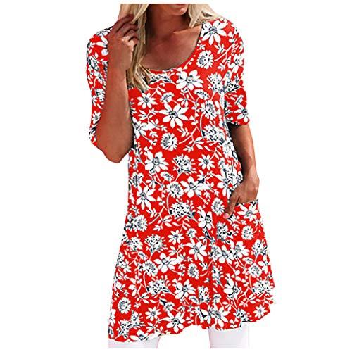 XOXSION Minivestido de moda para mujer, con bolsillo floral, cuello redondo, manga corta, fácil de volar, bohemio, para playa