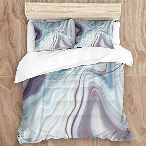 YCHY8 Duvet Cover Set,Blue Granite Marble White Gray Pattern Abstract Brown Black,Decorative 3 Piece Bedding Set with 2 Pillow Shams, King Size