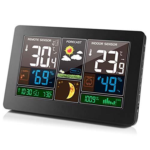 Innenwetterstation Mit Außensensoren, Wireless Atomic Digital Color Forecast-Station Mit Warnungen, Temperatur Und Feuchtigkeit Detector