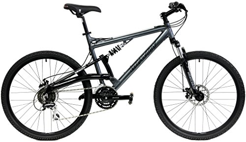 2020 Gravity FSX 1.0 Dual Full Suspension Mountain Bike with Disc Brakes (Gray, 21in)