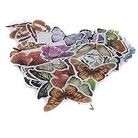 PINKING 60枚セット シール フレークシール 装飾 ノート 貼る付け おしゃれ かわいい 手帳 カレンダー ステッカー バタフライ
