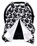 Dear Baby Gear Deluxe Baby Car Seat Canopy Cover, Black and White Happy Pandas, Smooth Minky, White
