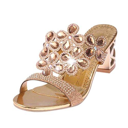 LUCKDE Slingback Sandalen Damen, Sommerschuhe mit Absatz Schuhe Sommer Damenschuhe Zehentrenner Glitzer High Heels Sandaletten Hausschuhe Schlappen Strandschuhe Pantoletten (40 EU, Gold)