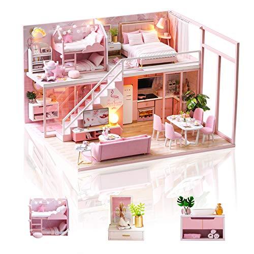 none-branded Casa Miniatura para Montar DIY Adultos Mini Habitación Hecha a Mano con Música a Prueba de Polvo y Muebles para Decoración, Regalos Artesanales Creativos para Mujeres (Meet Hapiness)