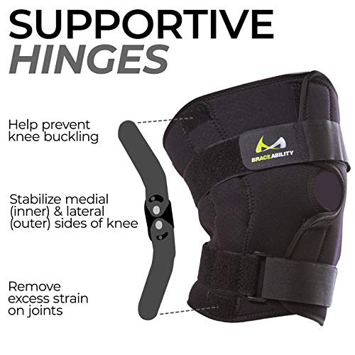 BraceAbility 6XL Plus Size Knee Brace | Bariatric Hinged Knee Wrap for Big & Wide Thighs to Support Meniscus Tears, Arthritis Joint Pain, Ligament Injuries & Sprains (6XL)