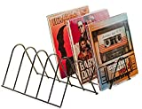 VINYL RECORDS LOVE Soporte para 75 discos, soporte para folletos, metal negro mate, soporte para discos de vinilo, revistas, libros