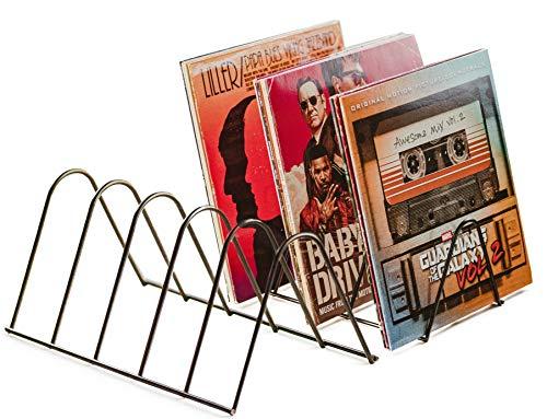 VINYL RECORDS LOVE NEU: Schallplattenständer | Schallplatten Halter Aufbewahrung für 75 LPs | Matt Schwarz Metall | Schallplatten Ständer Zeitschriften Bücher